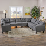 Niya Mid Century Modern 10 Piece Fabric U-Shaped Sectional Sofa