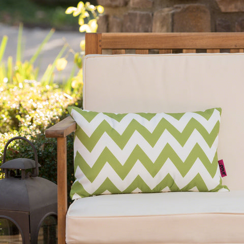 Embry Outdoor Chevron Design Water Resistant Rectangular Throw Pillow