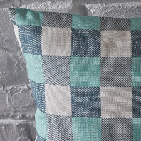 Italo Indoor Blue and White Plaid Water Resistant Rectangular Throw Pillow