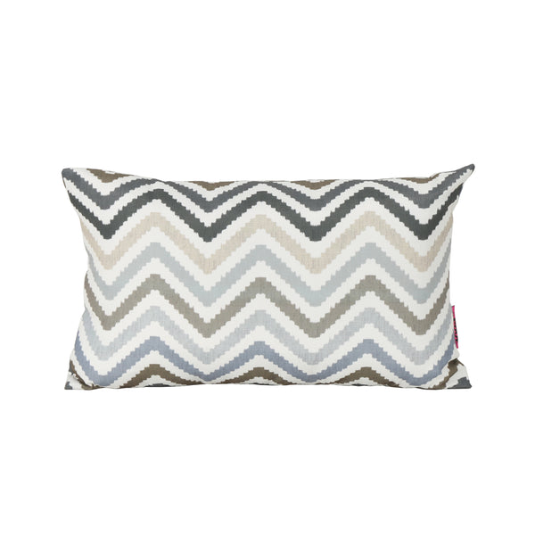 Callon Indoor Grey, Blue, and Brown Zig Zag Striped Water Resistant Rectangular Throw Pillow