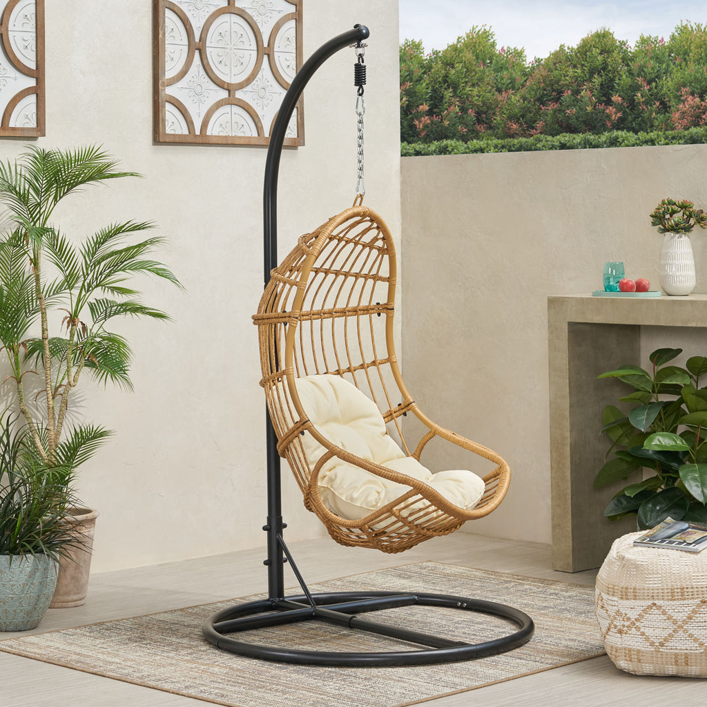 Perry Outdoor Wicker Hanging Nest Chair With Stand Gdfstudio