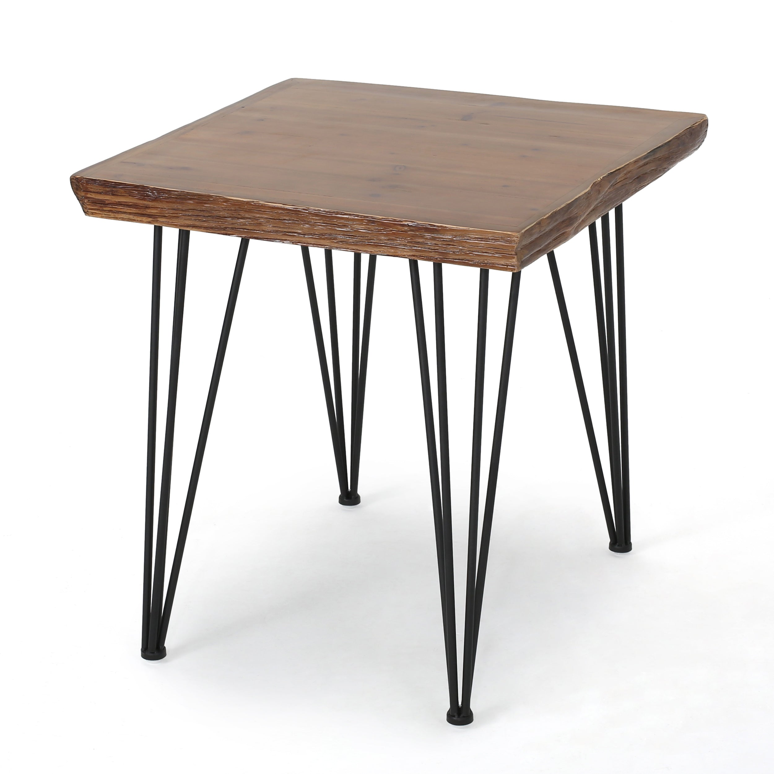 Aneissa Industrial Faux Live Edge Square Dining Table Natural Default Title