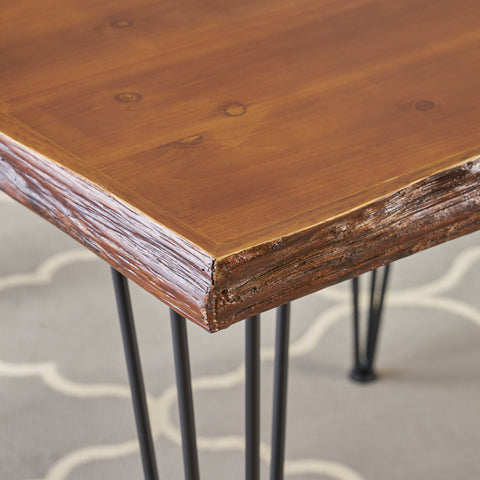 Aneissa Industrial Faux Live Edge Square Dining Table, Natural