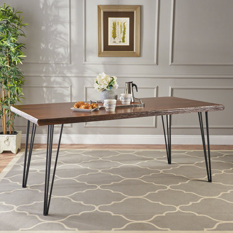 Aneissa Industrial Faux Live Edge Rectangular Dining Table, Natural