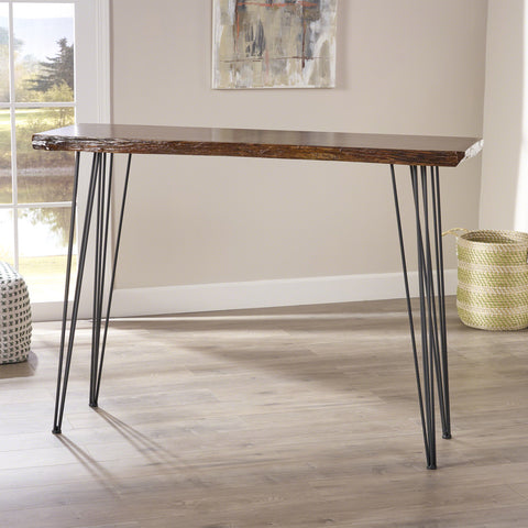 Aneissa Industrial Faux Live Edge Rectangular Bar Table, Natural