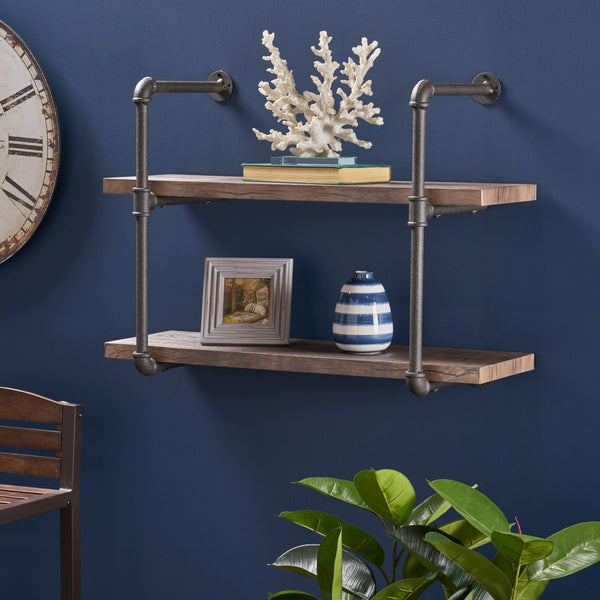 Caden Industrial Two Tier Faux Wood Wall-Mounted Shelf, Dark Brown Finish