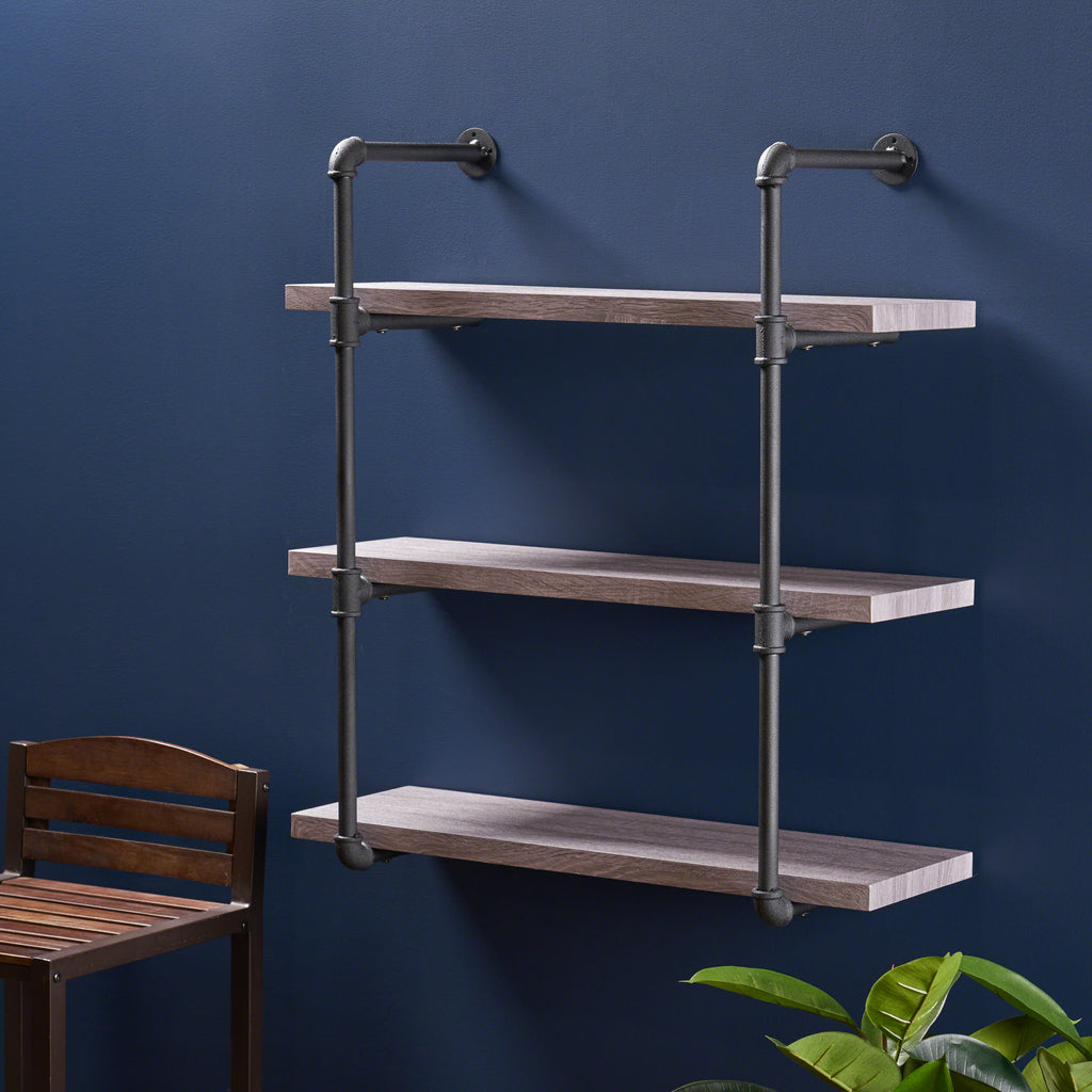 Amya Industrial Pipe Design 3-Tier Wall Mount Floating Shelf
