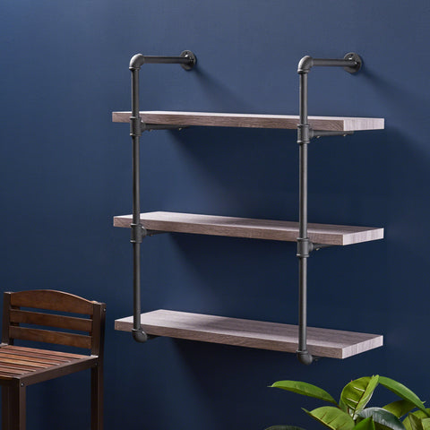Amya Industrial 3 Shelf Faux Wood Floating Shelf
