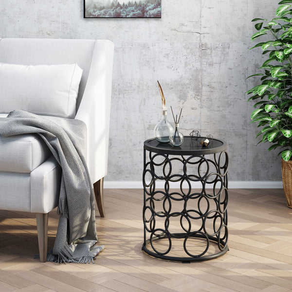 Athena Indoor Modern 16 Inch Grey Finish Ceramic Tile Side Table