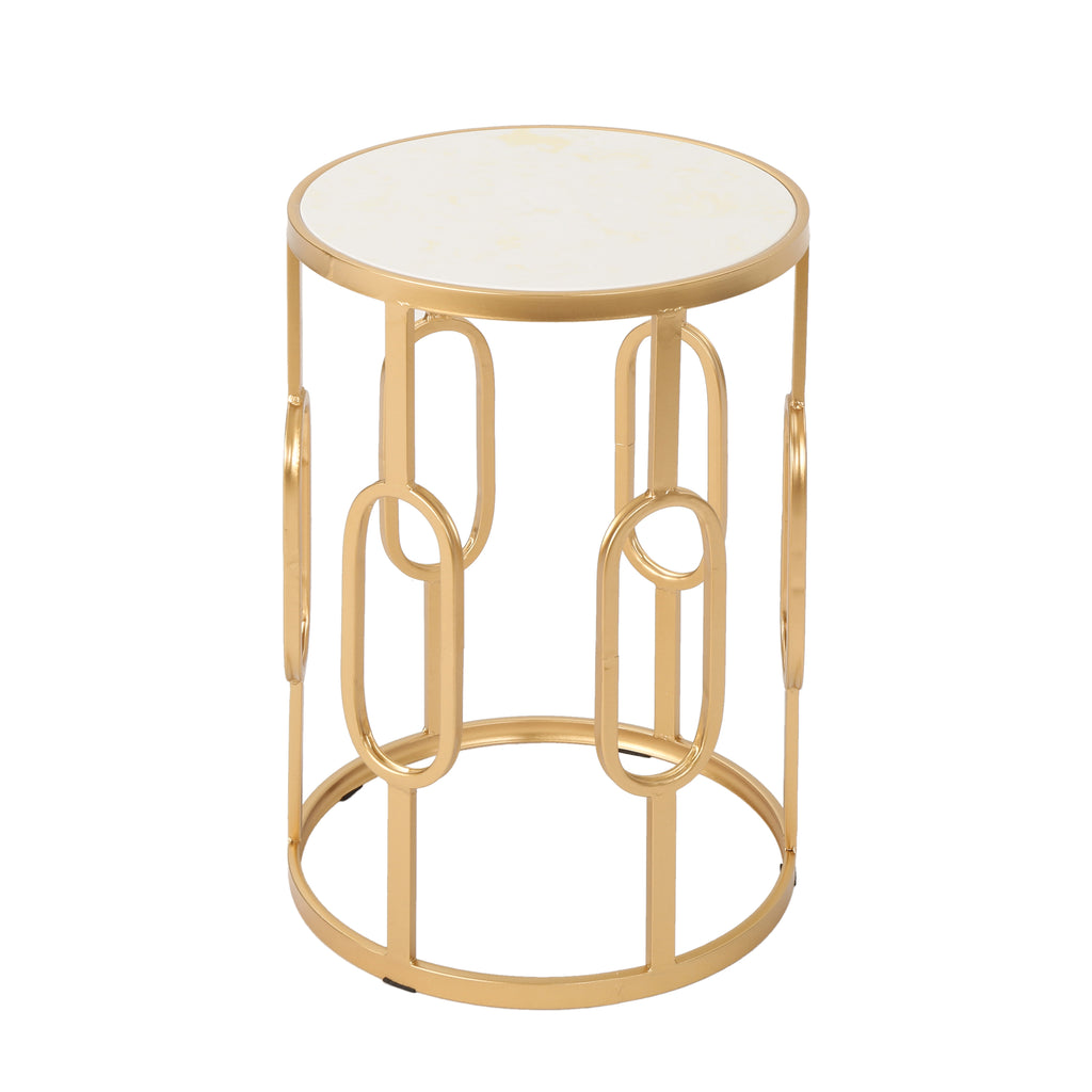 Madison Indoor Glam 16 Inch White Finish Faux Stone Side Table