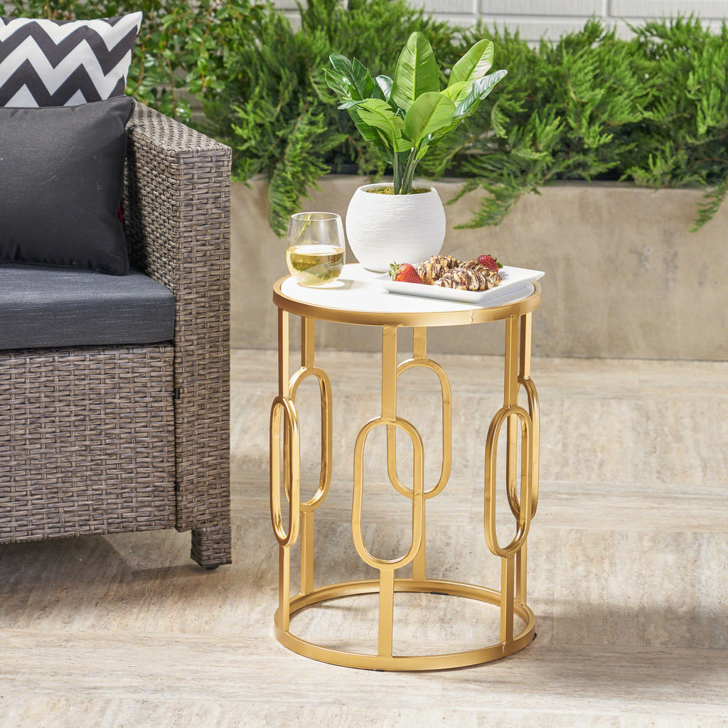 Fabulous Tammy Outdoor 16 Inch White Finish Faux Stone Side Table Caraccident5 Cool Chair Designs And Ideas Caraccident5Info