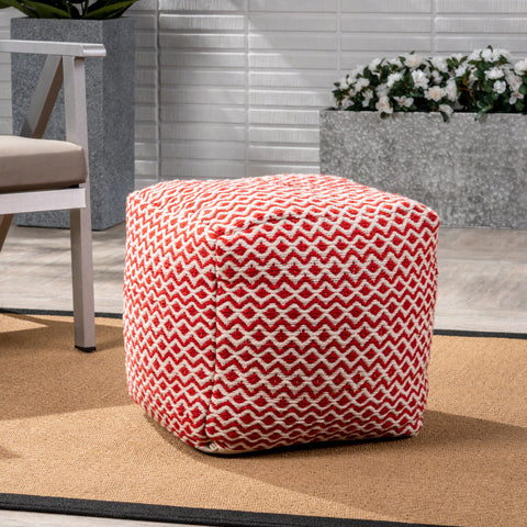 Anele Outdoor Modern Boho Pouf, Ivory with Pink