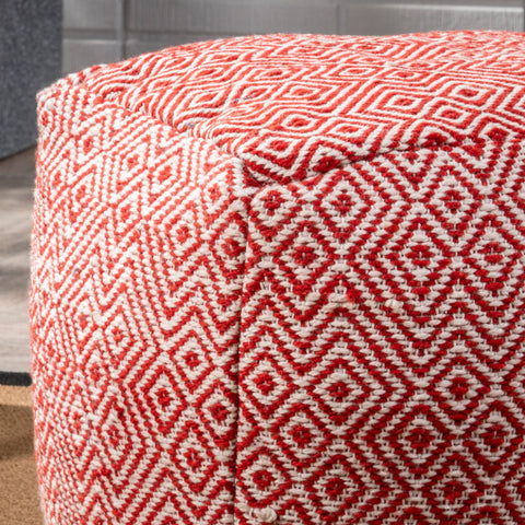 Alston Outdoor Modern Boho Pouf, Ivory with Red
