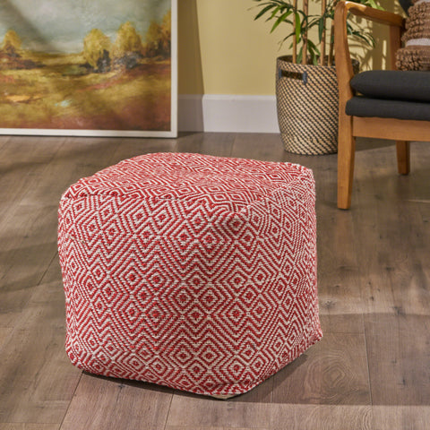 Adkins Indoor Modern Boho Pouf, Ivory with Red