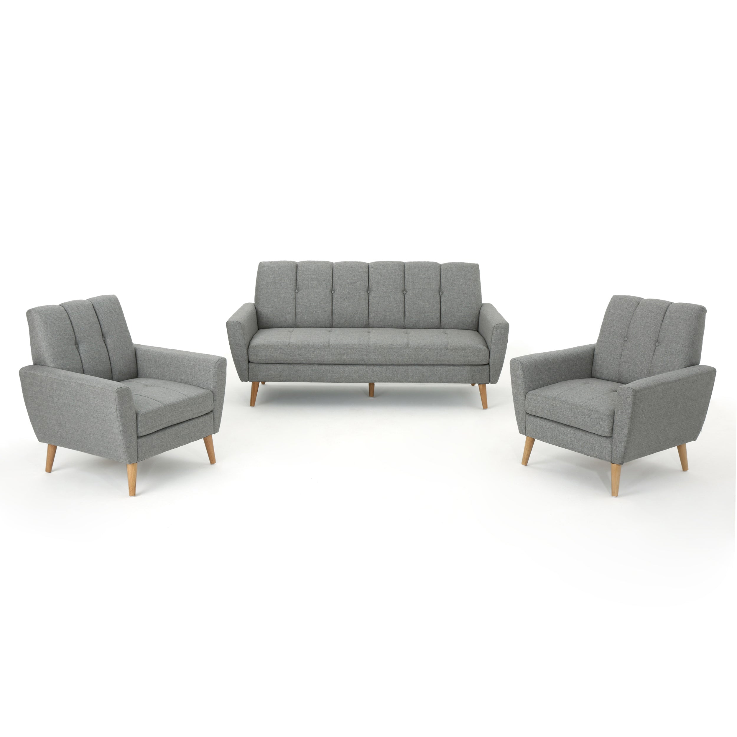 Angelica Mid Century Modern 3 Piece Chairs Couch Fabric Living Room Set Gray
