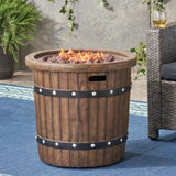Muriel Outdoor 25-inch Light-Weight Concrete Round Fire Pit 40K BTU, Dark Brown