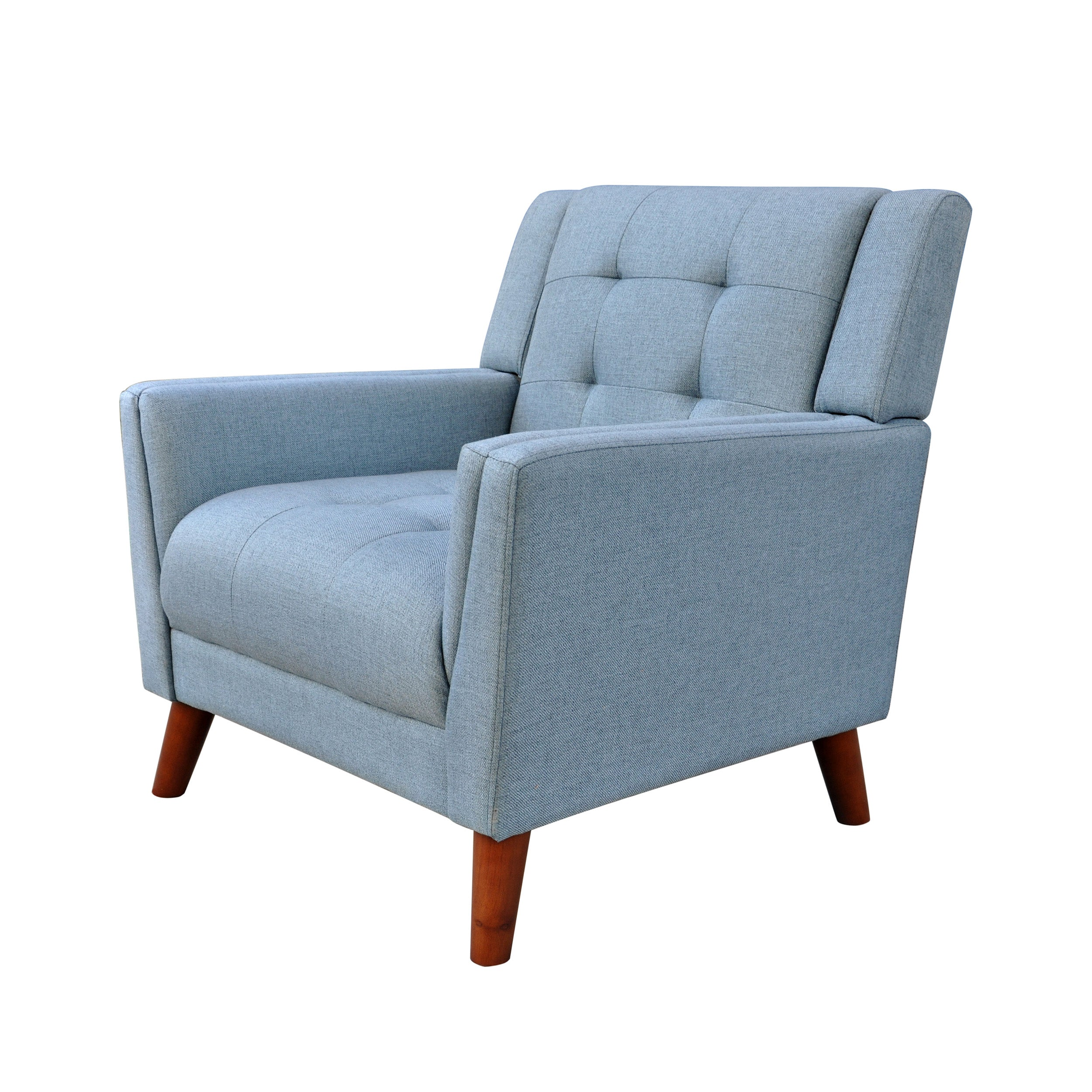 Anvith Mid Century Modern Fabric Arm Chair Blue