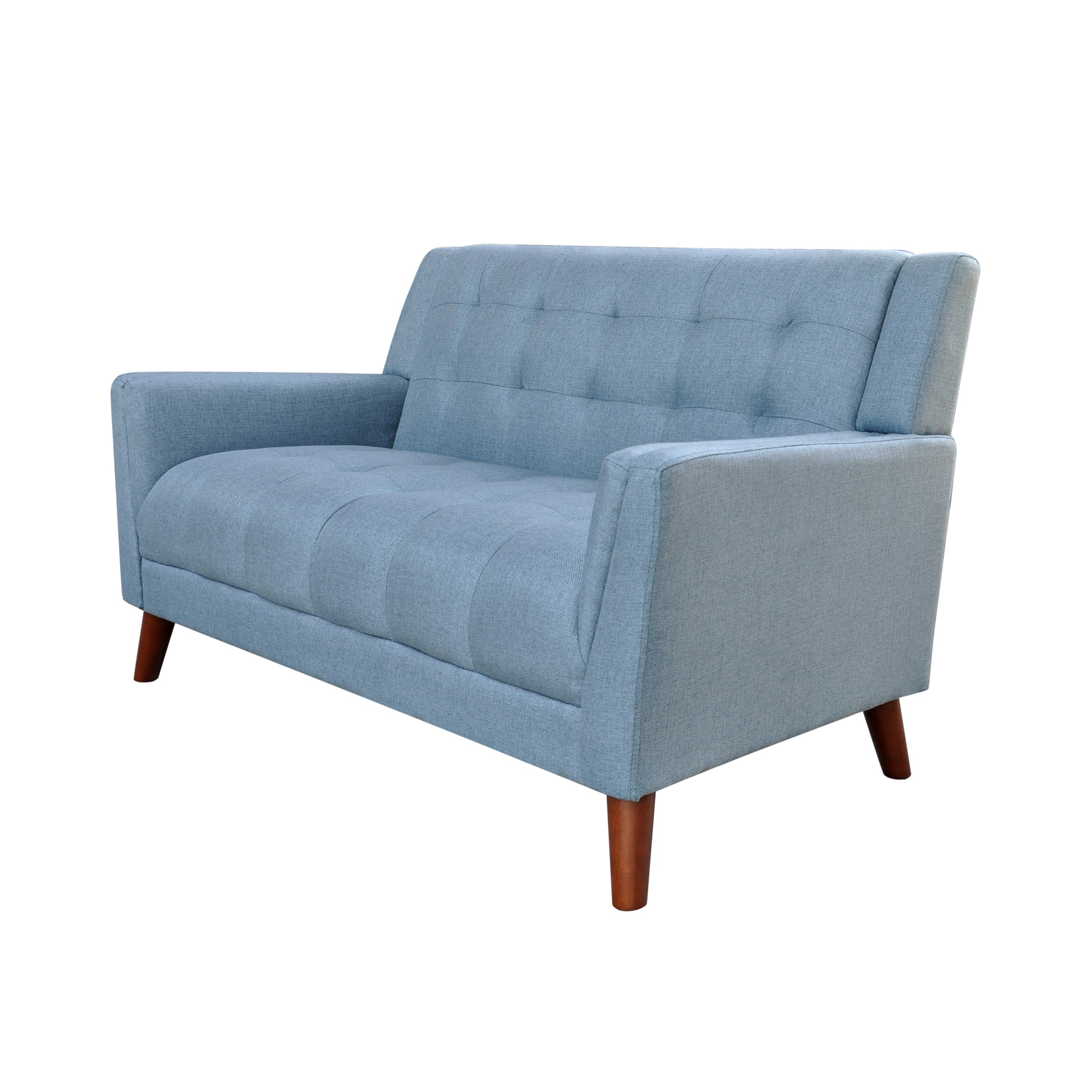 Anvith Mid Century Modern Fabric Loveseat Blue