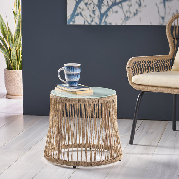 Kimberley Indoor Side Table, Steel and Rope, Tempered Glass, Boho
