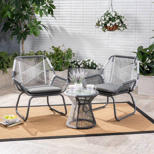 Aiden Outdoor 3 Piece Wicker Chat Set, Gray and White