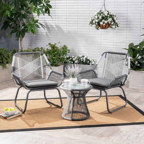 Aiden Outdoor 3 Piece Faux Rattan Chat Set