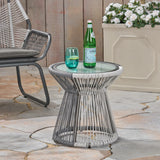 Aiden Outdoor Wicker Side Table with Glass Top, Gray and White
