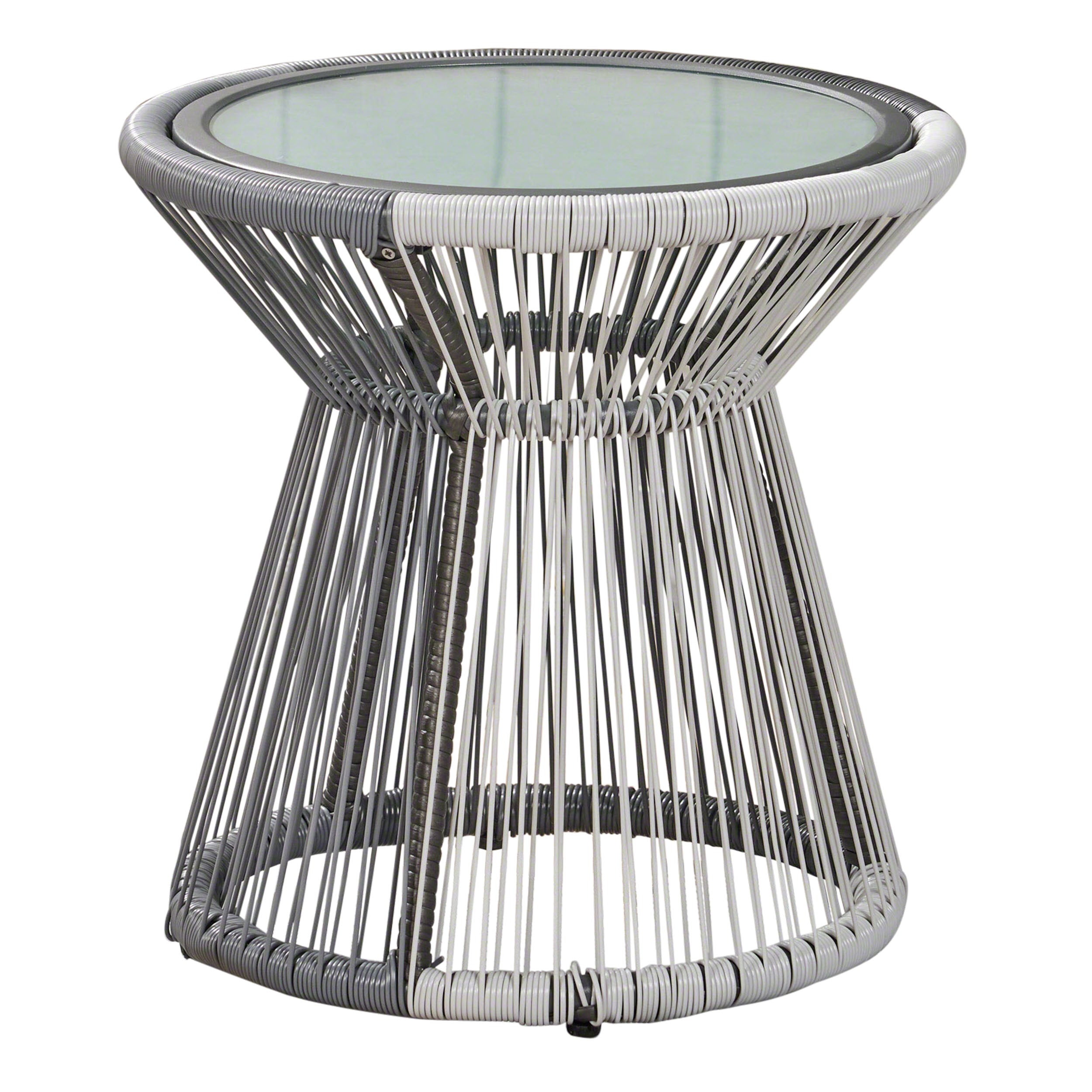 Aiden Outdoor Faux Rattan Side Table with Glass Top Default Title