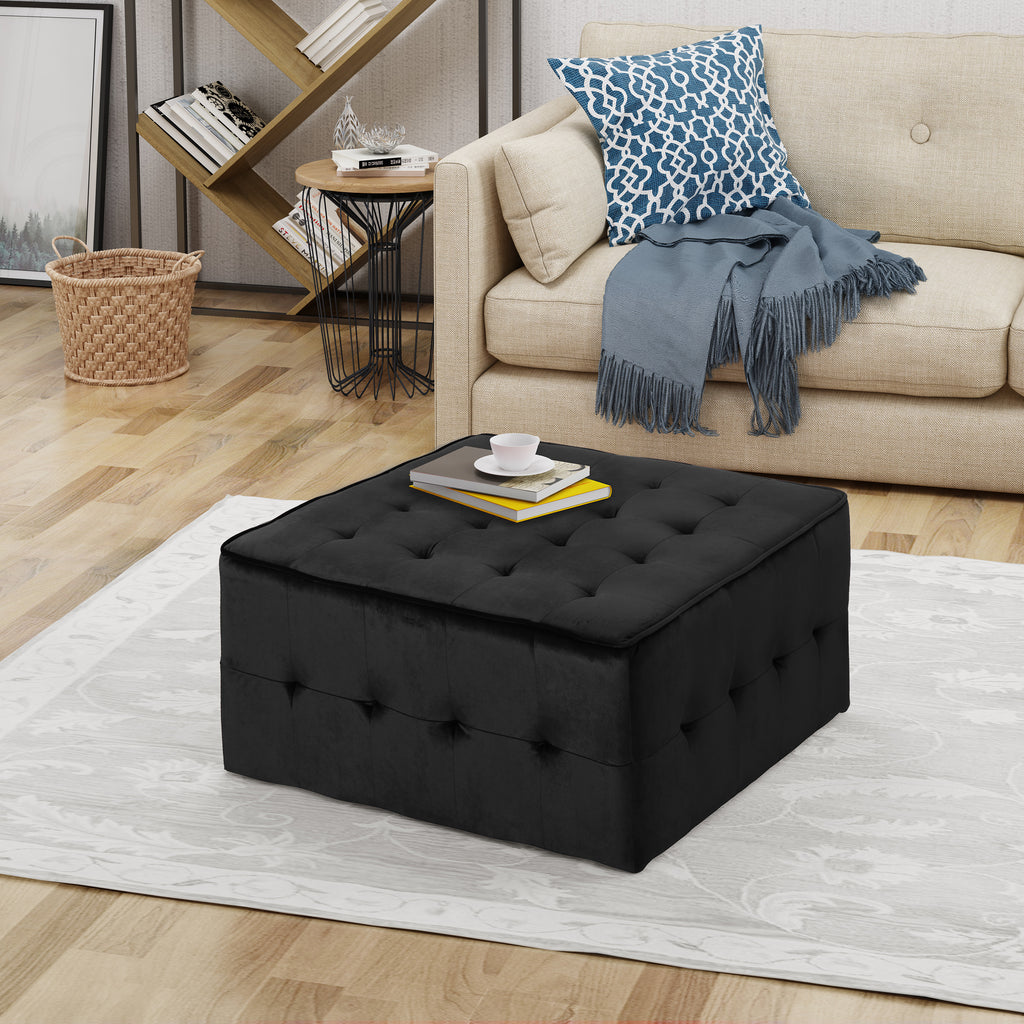 Justin Modern Glam Tufted Waffle Stitch Velvet Square Ottoman Coffee T Gdfstudio