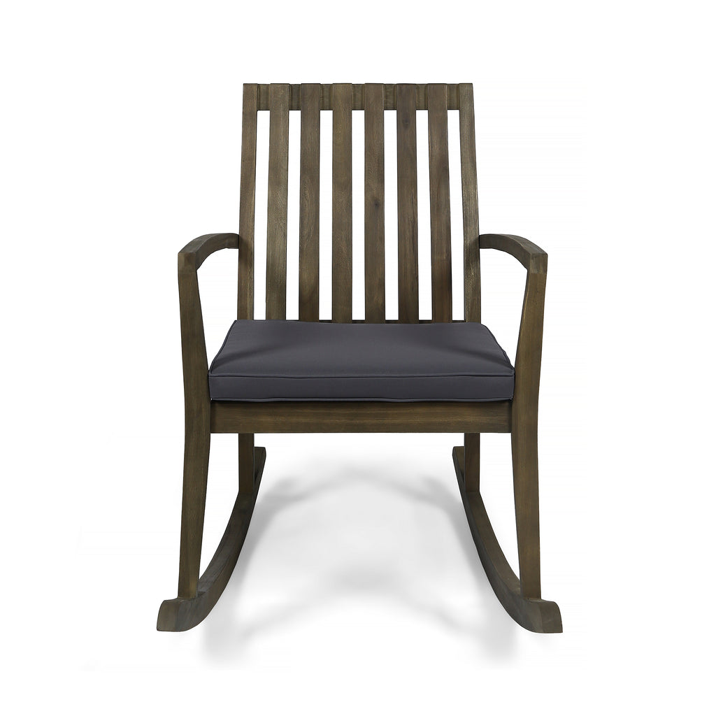 Muriel Outdoor Acacia Wood Rustic Style Rocking Chair With Cushions