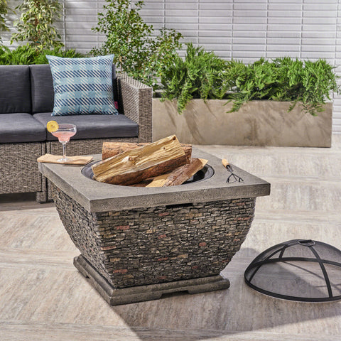 Laraine Outdoor 32-inch Wood Burning Light-Weight Concrete Square Fire Pit, Grey