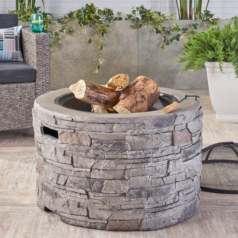 Dione Outdoor 32-inch Wood Burning Light-Weight Concrete Round Fire Pit, Grey