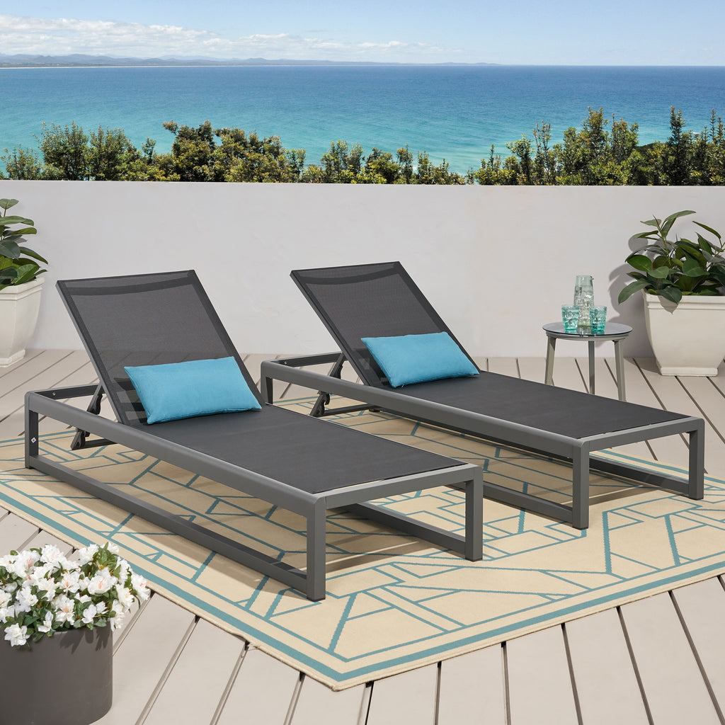 Camdyn Outdoor Mesh Chaise Lounge (Set of 2)