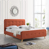 Hirver Modern Glam Button-Tufted Queen Velvet Bed Frame with Splayed Legs