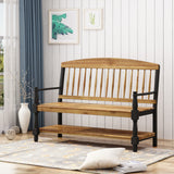 Eddie Indoor Farmhouse Acacia Wood Bench with Shelf