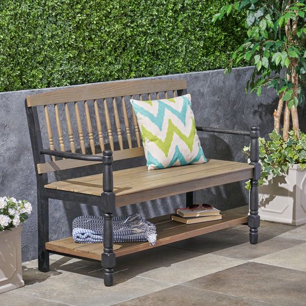 Daphne Outdoor Acacia Wood Bench with Shelf