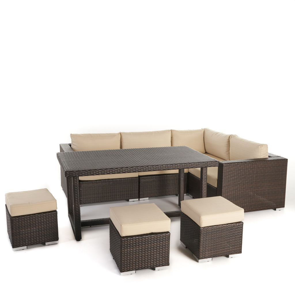 Santa Rosa Outdoor 7 Seat Dining Sofa and Ottoman Set with Aluminum Frame