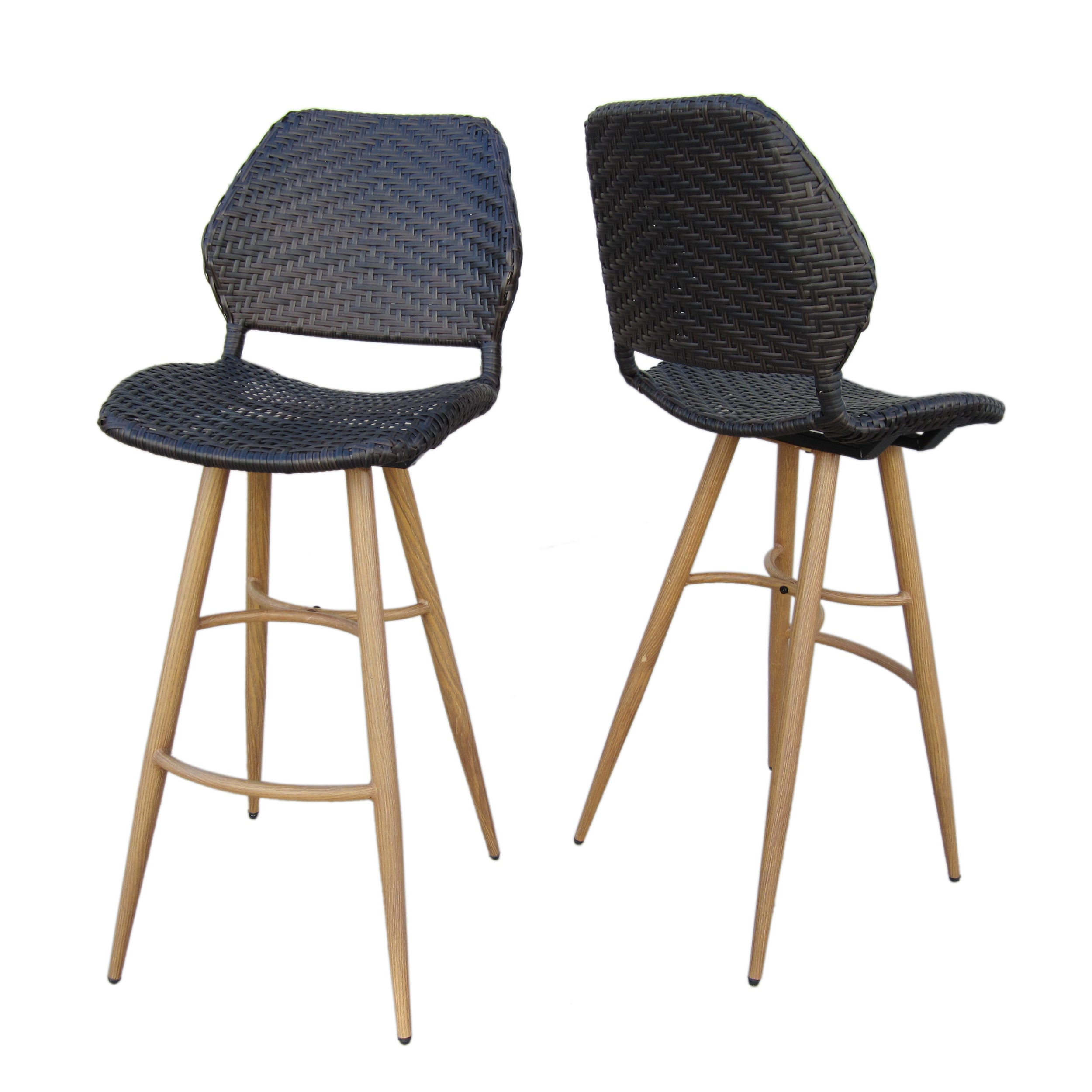 Amaya Outdoor Multi brown Wicker Barstools with Brown Wood Finish Metal Leg