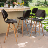 Amaya Outdoor Multi-brown Wicker Barstools with Brown Wood Finish Metal Leg