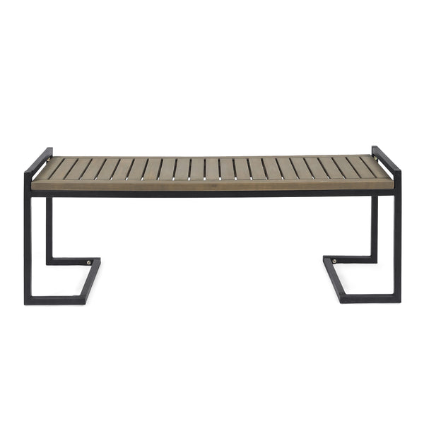 Noel Outdoor Industrial Acacia Wood and Iron Bench
