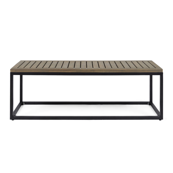 Drew Outdoor Industrial Acacia Wood and Iron Bench