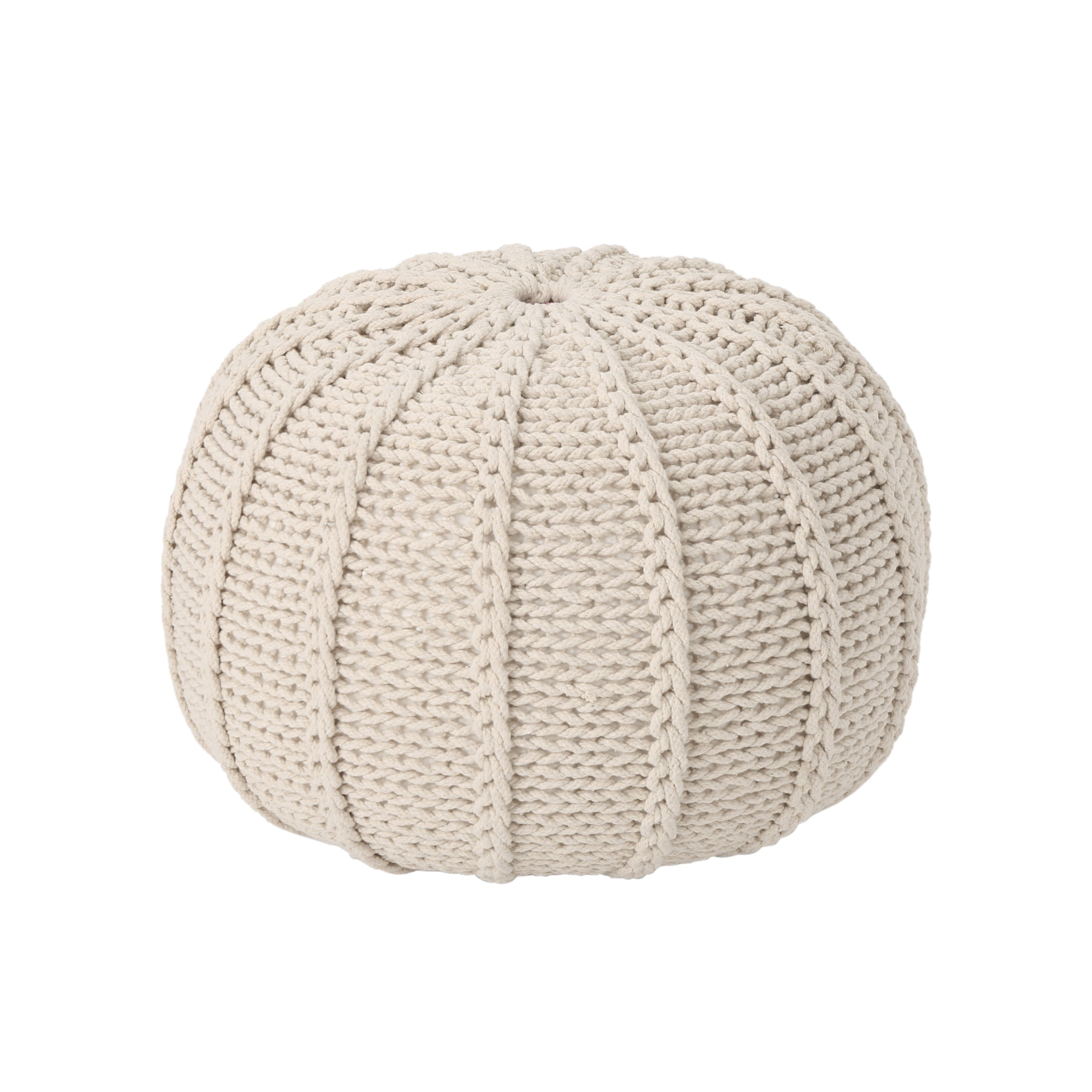 Agatha Knitted Cotton Pouf Beige