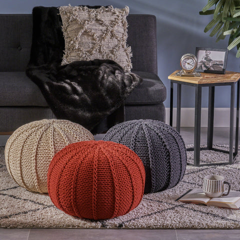 Agatha Knitted Cotton Pouf