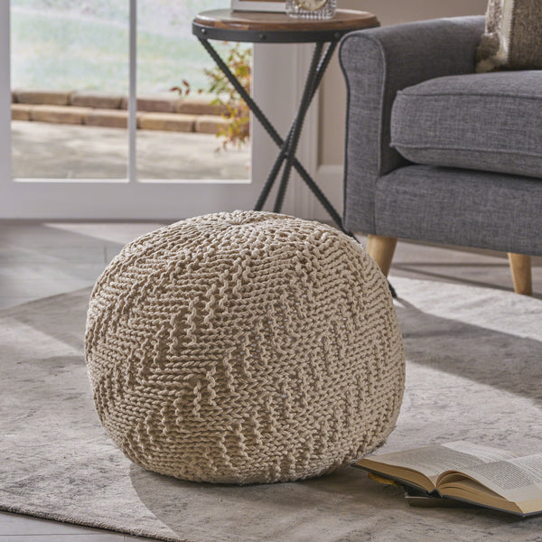 Austin Knitted Cotton Pouf, Beige