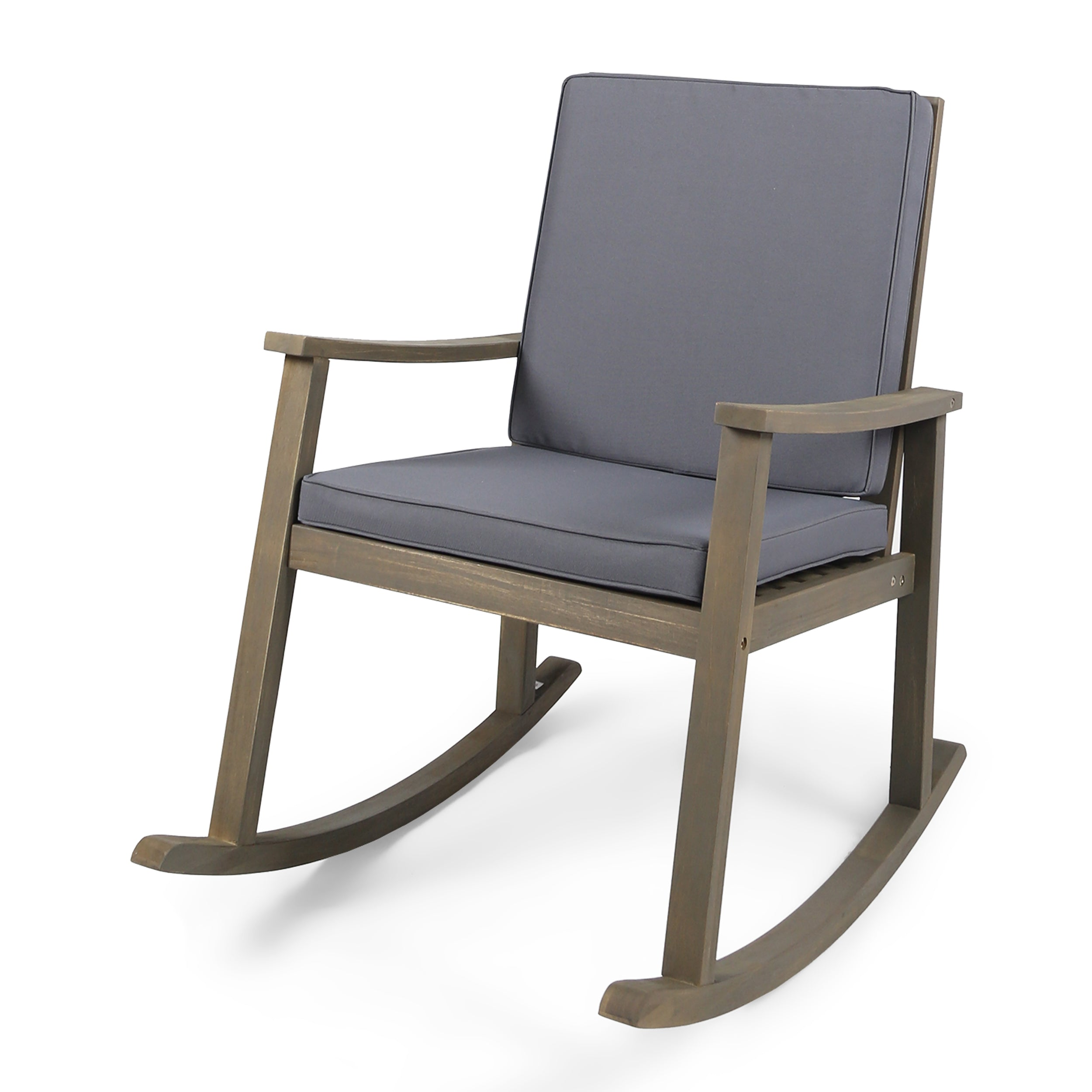 Aeney Outdoor Acacia Wood Rocking Chair Gray