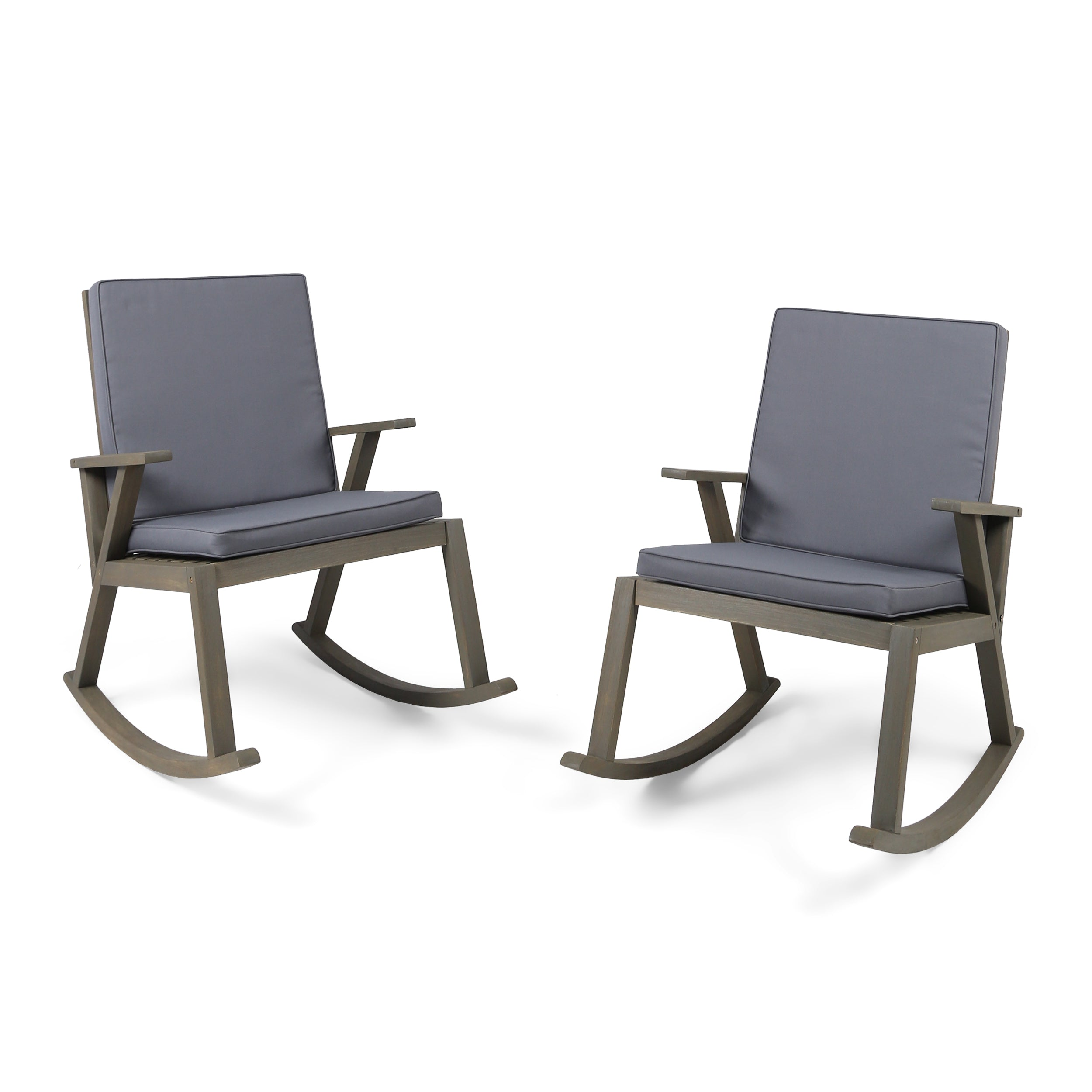 Andy Outdoor Acacia Wood Rocking Chair with Water Resistant Cushions Set of 2 Teak