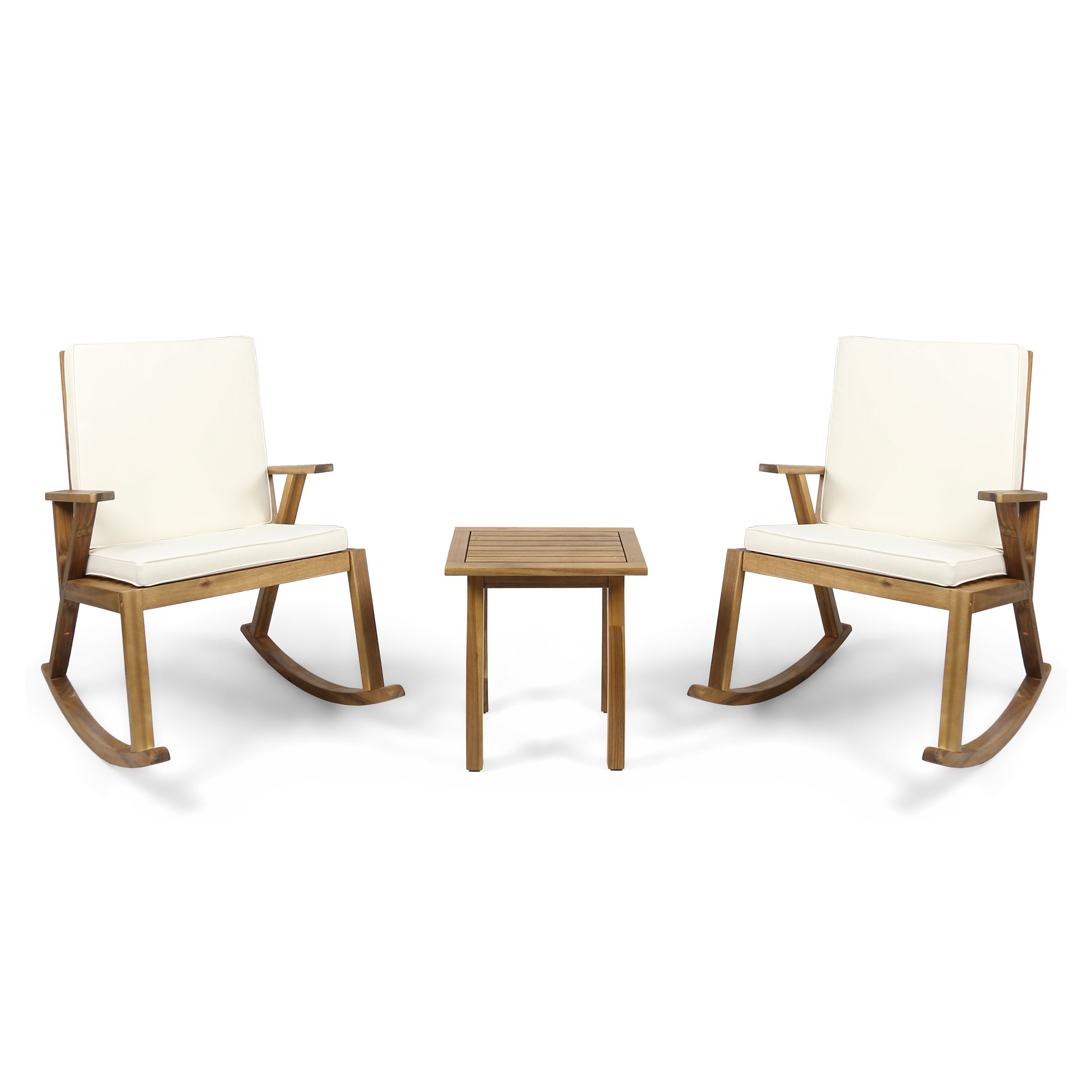 Alize Outdoor Acacia Wood Rocking Chair Chat Set