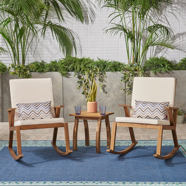 Alize Outdoor Acacia Wood Rocking Chairs and Table Set, Teak and Creams Cushions