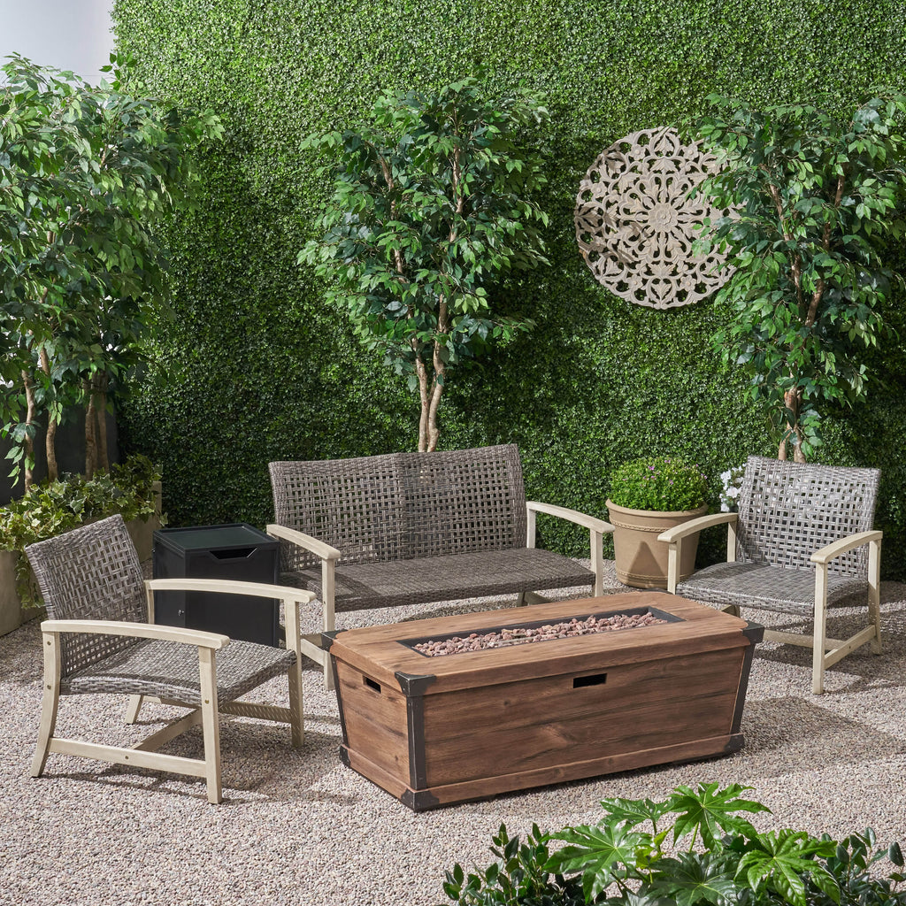 Airyanna Outdoor 3 Piece Wood and Wicker Chat Set with Fire Pit