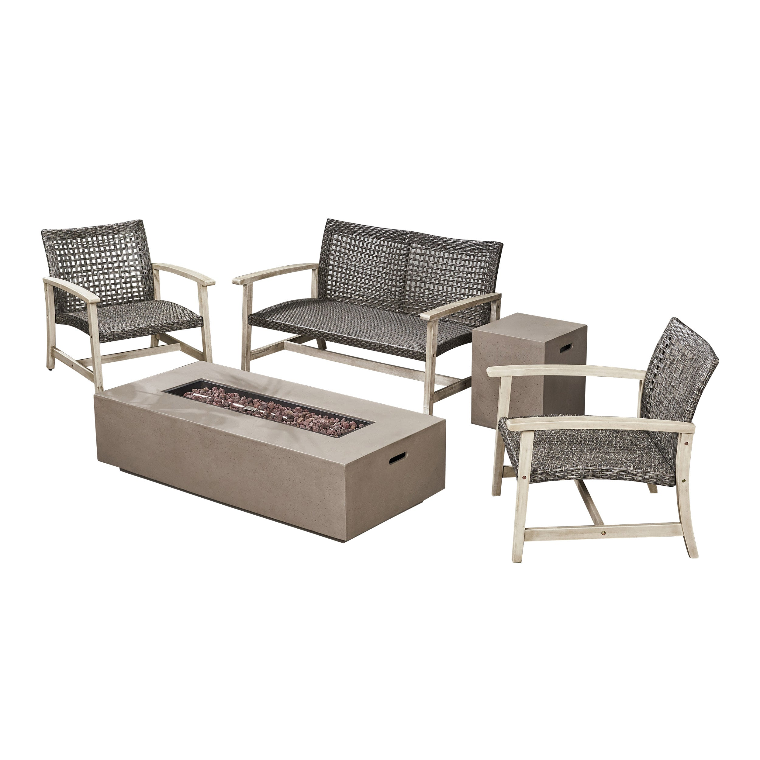 Alliso Outdoor 5 Piece Wood and Wicker Chat Set with Fire Pit Default Title