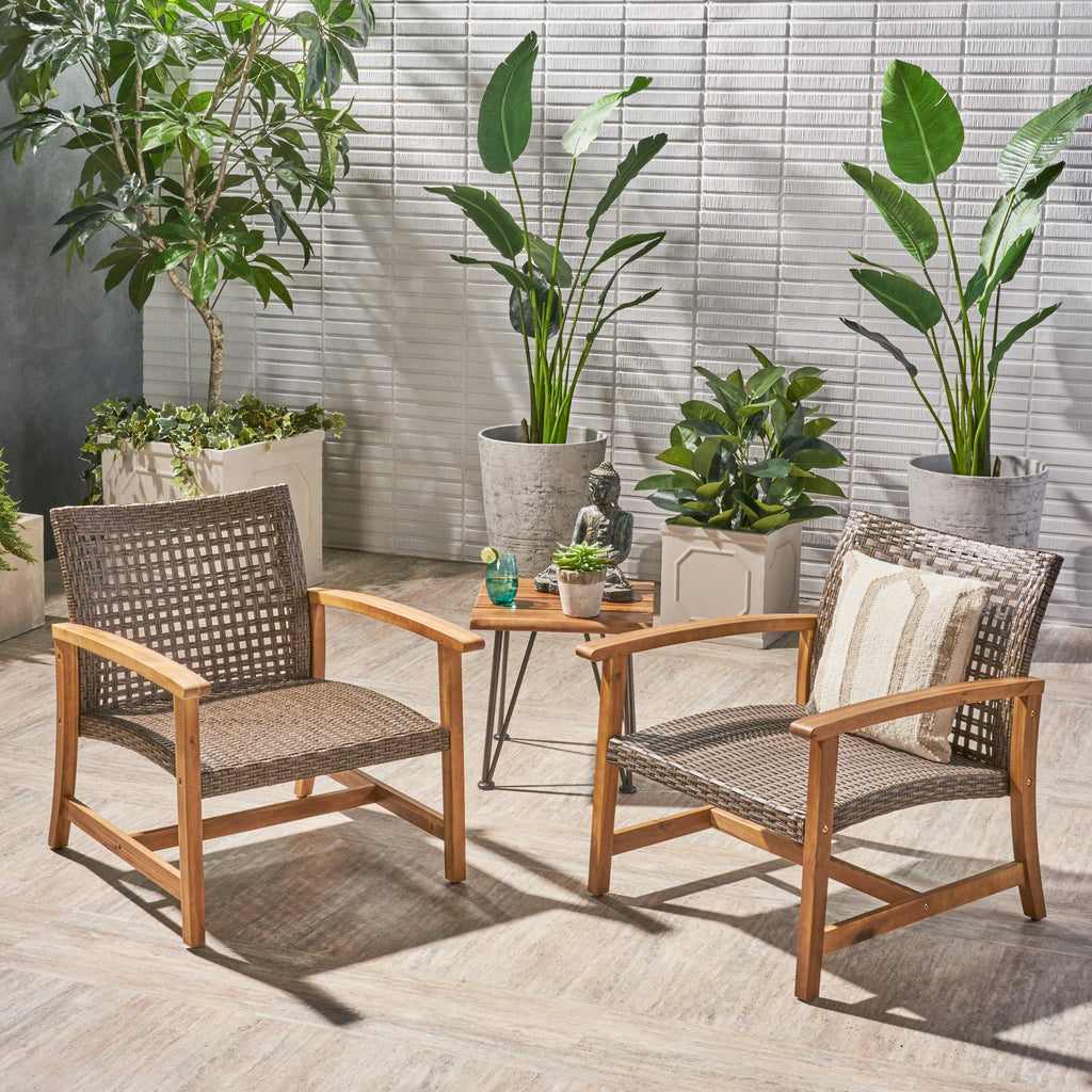 Viola Outdoor Wood And Wicker Club Chairs Gdf Studio